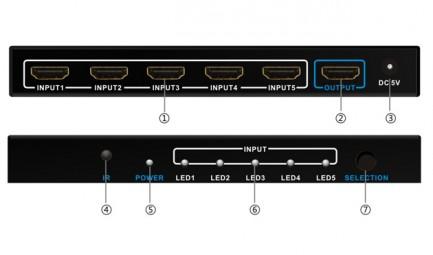 Фото3 LKV501 - Видео коммутатор сигналов 5х1 с ИК пультом управления, ; 5 видеоисточников (HDMI) > 1 диспл