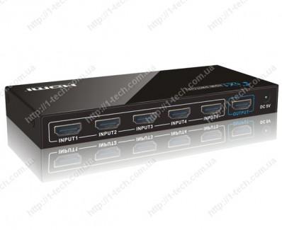 Фото1 LKV501 - Видео коммутатор сигналов 5х1 с ИК пультом управления, ; 5 видеоисточников (HDMI) > 1 диспл