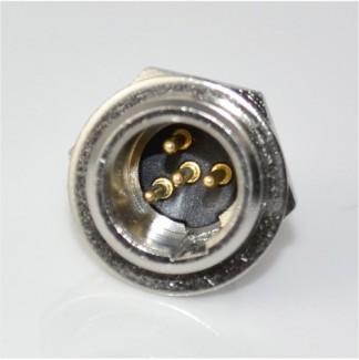 Фото1 92M-503(4P) gold - Разъем miniXLR 4-контактный, панельный круглый (мет. гайка), штекер
