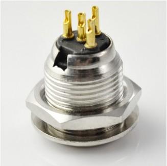 Фото2 92M-503(4P) gold - Разъем miniXLR 4-контактный, панельный круглый (мет. гайка), штекер