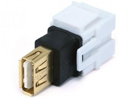 Фото2 MNKS-USB-.. Вставка-кейстон с проходным адаптером USB (гнездо-гнездо)  для мультимедийных настенных
