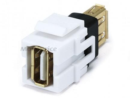 Фото1 MNKS-USB-.. Вставка-кейстон с проходным адаптером USB (гнездо-гнездо)  для мультимедийных настенных