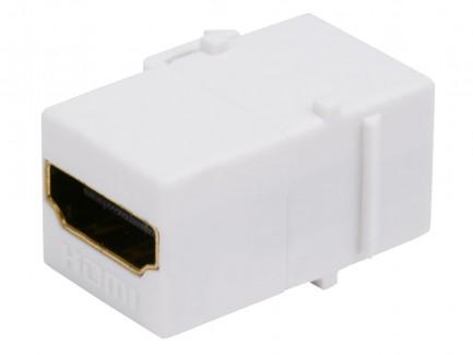 Фото2 MNKS-HDMI-.. Вставка-кейстон с проходным адаптером HDMI-FF (гнездо-гнездо)  для мультимедийных насте