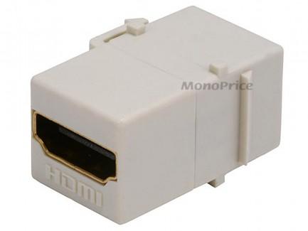 Фото4 MNKS-HDMI-.. Вставка-кейстон с проходным адаптером HDMI-FF (гнездо-гнездо)  для мультимедийных насте
