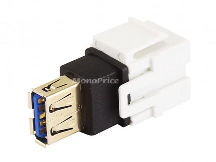 Фото4 MNKS-USB-.. Вставка-кейстон с проходным адаптером USB (гнездо-гнездо)  для мультимедийных настенных