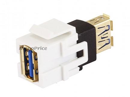 Фото3 MNKS-USB-.. Вставка-кейстон с проходным адаптером USB (гнездо-гнездо)  для мультимедийных настенных