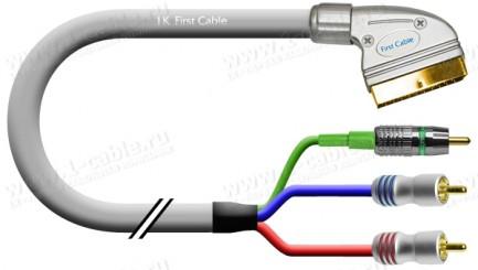 Фото1 1K-AV5-.. Кабель комбинированный: видео + звук, SCART (вход) > RCA (CST Video) + 2x RCA штекер (стер