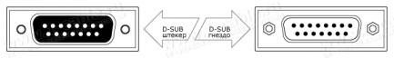 Фото2 1K-BIT07-15MF-1. Терминальный кабель для передачи данных, D-Sub 15-пин, штекер-гнездо (для SONY PCS-