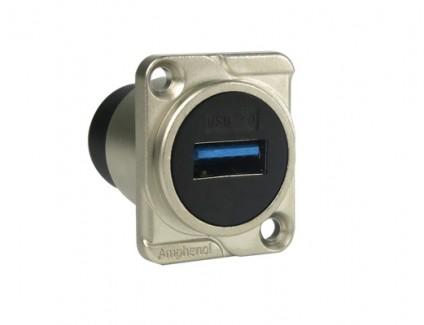 Фото1 AC-USB3-AA. Разъем USB 3.0 тип А-A панельный, гнездо, крепление D-фланец