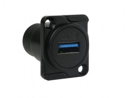 Фото2 AC-USB3-AA. Разъем USB 3.0 тип А-A панельный, гнездо, крепление D-фланец