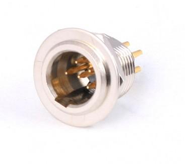 Фото1 92M-503(5P) gold - Разъем miniXLR 5-контактный, панельный круглый (мет. гайка), штекер