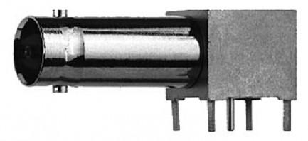 Фото1 J01003A0030 - Разъём BNC гнездо, для печатных плат, угловой, удлиненный, пайка, 75 Ом