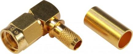 Фото1 J01150R00.1 Разъём R-SMA, корпус-штекер, ц.контакт- гнездо, кабельный, угловой, обжим, 50 Ом