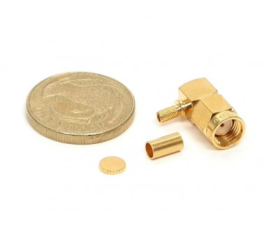 Фото2 J01150R00.1 Разъём R-SMA, корпус-штекер, ц.контакт- гнездо, кабельный, угловой, обжим, 50 Ом