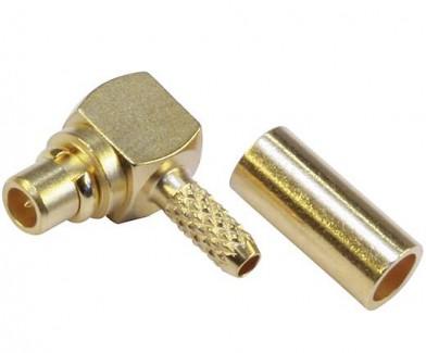 Фото1 J01340A01.1 Разъем MMCX кабельный угловой, штекер, обжим, ц.контакт- пайка, 50 Ом