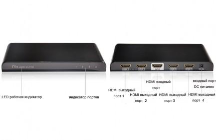Фото2 LKV314PRO - HDMI сплиттер 1:4, 4k*2K с функцией усиления сигнала, вер. 1.4
