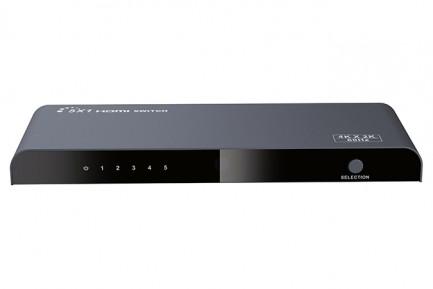 Фото2 LKV501-V2.0 - HDMI коммутатор (переключатель) 5x1, 4K x 2K, 60 Гц, 5 HDMI источников > 1 дисплей, RS