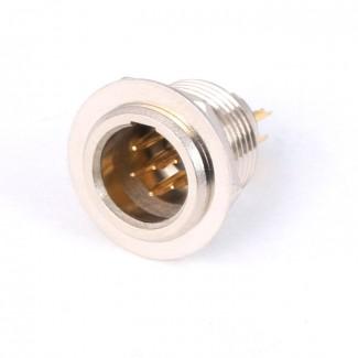 Фото1 92M-503(6P) gold - Разъем miniXLR 6-контактный, панельный круглый (мет. гайка), штекер