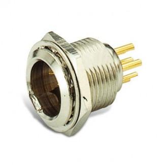 Фото2 92M-503(6P) gold - Разъем miniXLR 6-контактный, панельный круглый (мет. гайка), штекер