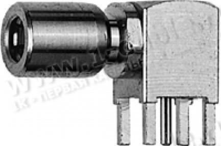 Фото1 J01161A0811 Разъём SMB для установки на печатную плату, угловой, гнездо, пайка, 50 Ом