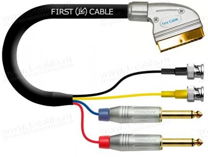 Фото1 1K-AV35-1.. Кабель комбинированный SCART > 2x BNC S-Video (Y/S Video вход-выход) + 2x Jack 6.3 mono
