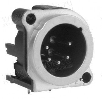 Фото1 AC5MBH-AU-PRE XLR 5 штекер на панель в плату, тип B, горизонтальная установка