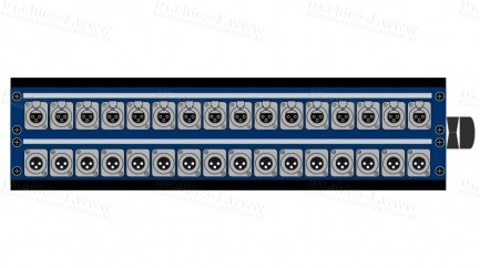 Фото1 1K-PB16/16-X. 32-кан.(16-IN/16-OUTкоммутационная коробка в сборе Panel Box (16x XLR3 гнездо, 16x XLR