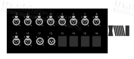 Фото1 1K-SB10/2-X.. 12-кан.(10-IN/2-OUT) коммутационная коробка в сборе Stage Box (10x XLR3 гнездо, 2x XLR