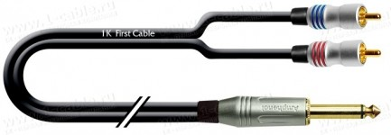 Фото1 1K-AIC119 Межблочный сдвоенный параллельный кабель   2х RCA гнездо > Jack 6.3 моно штекер
