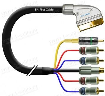 Фото2 1K-AV16-1. Кабель комбинированный SCART > 4x RCA (Аудио стерео вход-выход) + 1x S-Video (Y/S Video в