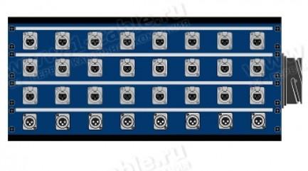 Фото1 1K-PB24/8-X.. 32-кан.(24-IN/8-OUT) коммутационная коробка в сборе Panel Box (24x XLR3 гнездо, 8x XLR