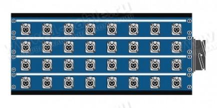 Фото1 1K-PB32/0-X. 32-кан.(32-IN/0-OUT) коммутационная коробка в сборе Panel Box (32x XLR3 гнездо)
