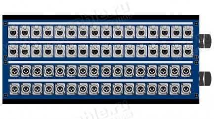 Фото1 1K-PB32/32-X.. 64-кан.(32-IN/32-OUT) коммутационная коробка в сборе Panel Box (32x XLR3 гнездо, 32x