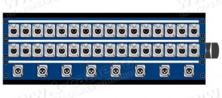 Фото1 1K-PB32/8.. 40-кан.(32-IN/8-OUT) коммутационная коробка в сборе Panel Box (32x XLR3 гнездо, 8x XLR3