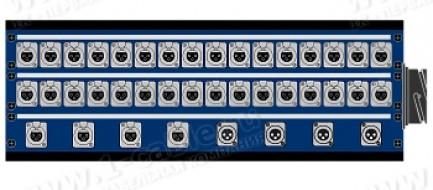 Фото1 1K-PB36/4-X.. 40-кан.(36-IN/4-OUT) коммутационная коробка в сборе Panel Box (36x XLR3 гнездо, 4x XLR