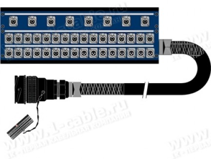 Фото1 1K-PB3UPL32/8.B-.0 40-кан.(32-IN/8-OUT) студийная мультикорная система Panel Box (32x XLR3 гнездо, 8
