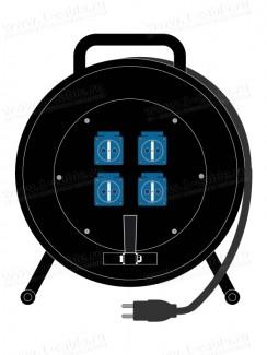Фото1 1K-PCRNF4/1-1.. Силовой кабельный удлинитель на катушке, 4 гнезда SCHUKO > штекер SCHUKO, IP44