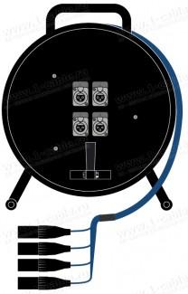 Фото1 1K-PS4/0RX-1.. 4-кан.(4-IN) туровая аудио мультикорная система на катушке (4x XLR3 гнездо) > коса (4