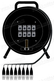 Фото1 1K-PW0/8RX-1.. 8-кан.(8-OUT) студийная аудио мультикорная система на катушке (8x XLR3 штекер) > коса
