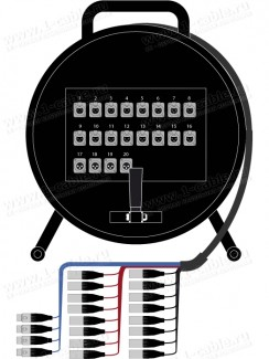 Фото1 1K-PW16/4RX-1.0 20-кан.(16-IN/4-OUT) студийная аудио мультикорная система на катушке (16x XLR3 гнезд