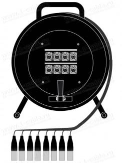 Фото1 1K-PW8/0RX-1.. 8-кан.(8-IN) студийная аудио мультикорная система на катушке (8x XLR3 гнездо) > коса