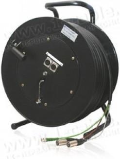Фото2 1K-V1/A2RX-0.0 3-кан. аудио-видео кабельная система на катушке (1х BNC гнездо, 2x XLR3 гнездо) > кос