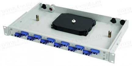 """Фото1 Оптическая патч-панель BASIS V 19"""" с закрытым корпусом, сплайс-кассетой и проходными адаптерами"""