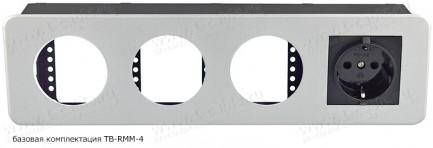 Фото1 TB-RM.-4 - Модульный блок для аудио-видео-мультимедиа розеток, серия Round Modular