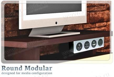 Фото6 TB-RM.-4 - Модульный блок для аудио-видео-мультимедиа розеток, серия Round Modular
