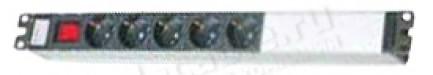 """Фото1 ACDA-19-.S0 Блок розеток 19"""" с выключателем и световой индикацией, алюминиевый корпус и крепление, б"""