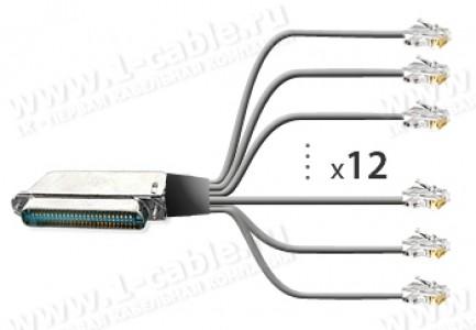 Фото1 1K-BIT50-12MM-0.. Кабель для передачи данных (тип CISCO - CAB-5-M120HYD), RJ21 Telco/Amphenol RJ21 ш