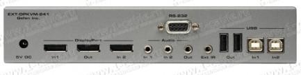 Фото3 EXT-DPKVM-241 - Коммутатор 2x1 сигналов DisplayPort + USB 2.0 + Аудио, управление RS232, ИК пульт