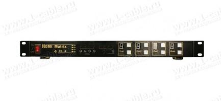 Фото3 HIT-HDMI-X444 - Матричный видео коммутатор сигналов HDMI (версия 1.4) 4х4, серия RACK с ИК пультом у