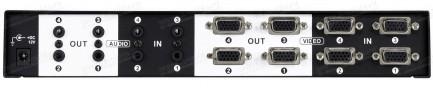 Фото3 HIT-VGAAUD-444 - Матричный коммутатор 4:4 VGA видео- и стерео аудиосигналов, рэковое крепление